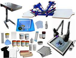 4 Color 2 Station Screen Printing Kit Press Full Set Starter