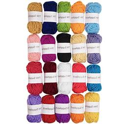 TYH Supplies 20 Skeins Bonbons Yarn Assorted Colors 100% Acr