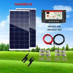 200 Watt Solar Panel Starter Kit: 2X100W Poly for 12V or 24V