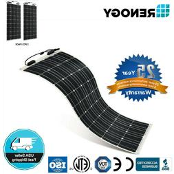 2pcs Renogy 248° Flexible 100W 12V Mono Solar Panel 200W Wa