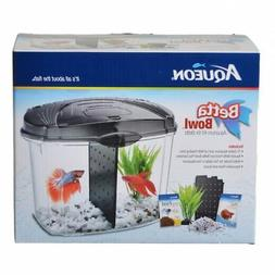 Aqueon Betta Bowl Starter Kit - Black .5 Gallon - Bundle Of