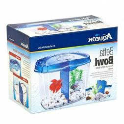 Aqueon Betta Bowl Starter Kit - Blue .5 Gallon - Bundle Of 3