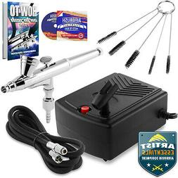 Starter Airbrush Kit Dual Action Gravity Feed Air Compressor