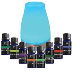 Aromatherapy Top 8 Essential Oil Set with 120ml Diffuser