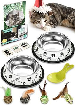Nornor Cat Bowl Set - 2 Pack Stainless Steel Cat Food Bowls
