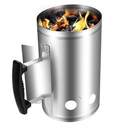 Charcoal Chimney Starter Grill Barbecue BBQ Galvanized Steel
