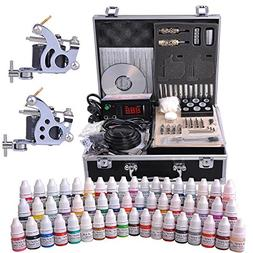 AW Complete Tattoo Kit 54 Color Ink 2 Machine Guns Set LCD P