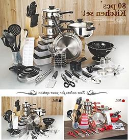 Cookware Cooking Pots And Pans Set 80 Piece Kitchen Starter