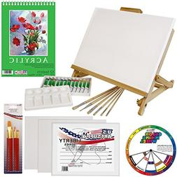 US Art Supply 33 Piece Custom Artist Acrylic Painting Set wi