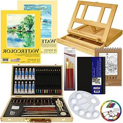 US Art Supply 60-Piece Custom Artist Watercolor Painting Set