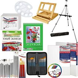 US Art Supply 72-Piece Deluxe Acrylic Painting Set with, Alu