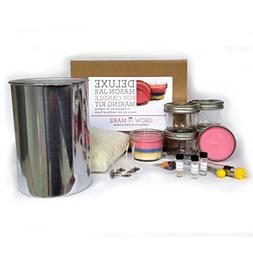 Deluxe DIY Small Mason Jar Soy Candle Making Kit - Learn how