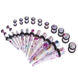 Gauges Kit 24 Pieces Tie Dye Acrylic Tapers with Plugs 8G -