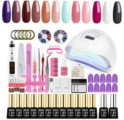 Gel Nail Polish Starter Kit with Nail Drill Machine 36W UV N