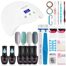 Gellen Gel Nail Polish Starter Kit with 24W LED lamp Base Co
