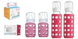 Glass Baby Bottles for Newborn Girl - Pink Starter Kit