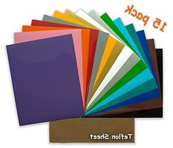 Heat Transfer Vinyl - 15 Pack 12x10 Inch Sheets - Iron On Cr