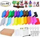 24 Colors Oven Bake Polymer Clay Starter Kit with 14 Sculpti