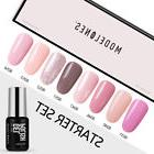 Modelones 8Pc Pink Grey Gel Nail Polish UV LED Soak Off Set