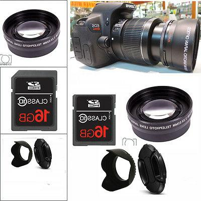 HD  ZOOM LENS +16GB STARTER KIT FOR CANON EOS REBEL DSLR T6