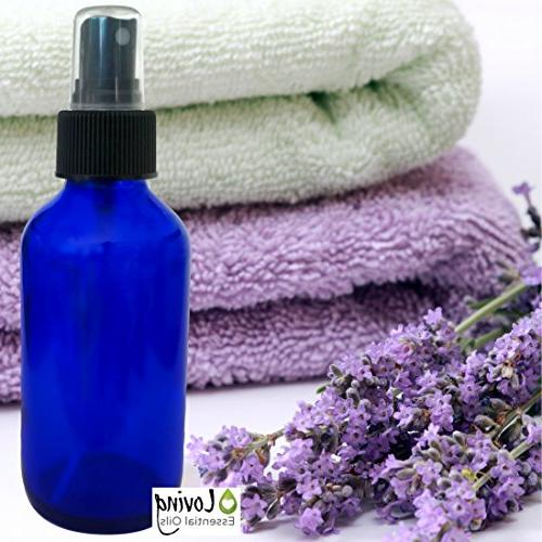 Essential PC Aromatherapy. Blue Amber Glass Empty Mist Bottle Set, Roller Lavender Essential Oils, Guide.