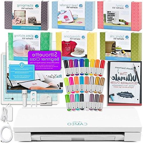 Guide Books Silhouette Cameo 3 Bluetooth Bundle with 129 Sheets of Oracal Vinyl
