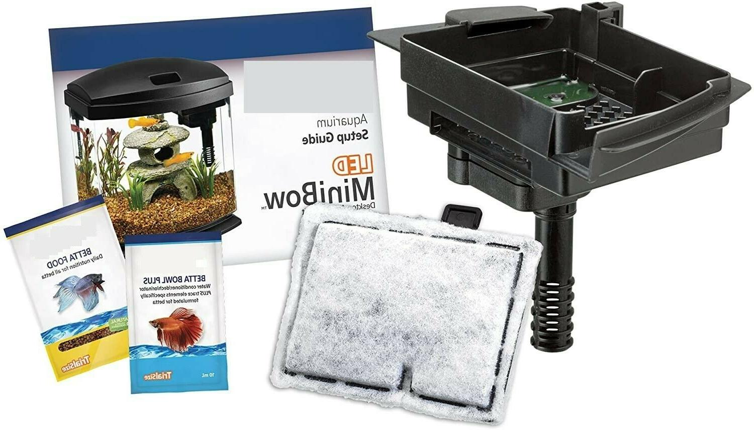 Compact Aquarium with Led Lighting Included Small Filter