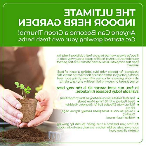Herb Garden Natural, Planting Pots, Markers, Seed Soil Mix | Basil, Thyme |