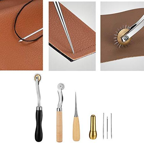 Joypea Leather Tools Kit for DIY Hand Sewing Leather Artwork Set Saddle