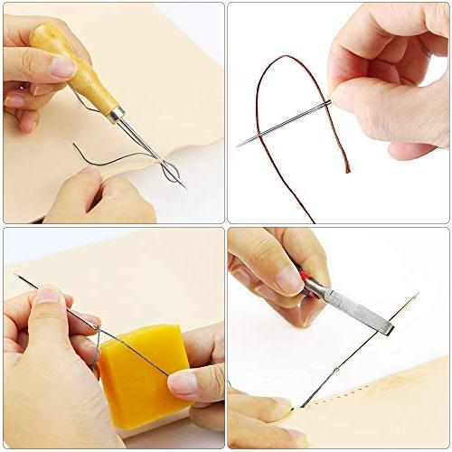 Leather 24 Pieces Craft Hand Stitching Kit with Groover Waxed Thimble Sewing Leather, Other Leather