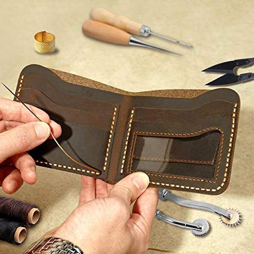 Leather SIMPZIA 24 Leather Craft Hand Kit with Waxed Thread Sewing Leather, Canvas Other Leather