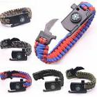 Paracord Survival Bracelet Compass Flint Fire Starter Whistl