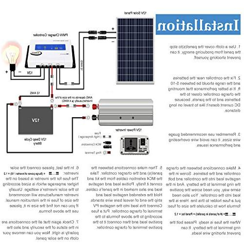 Komaes Volts Polycrystalline Kit with 20A Charge Controller Tray MC4 Connectors + Z Brackets