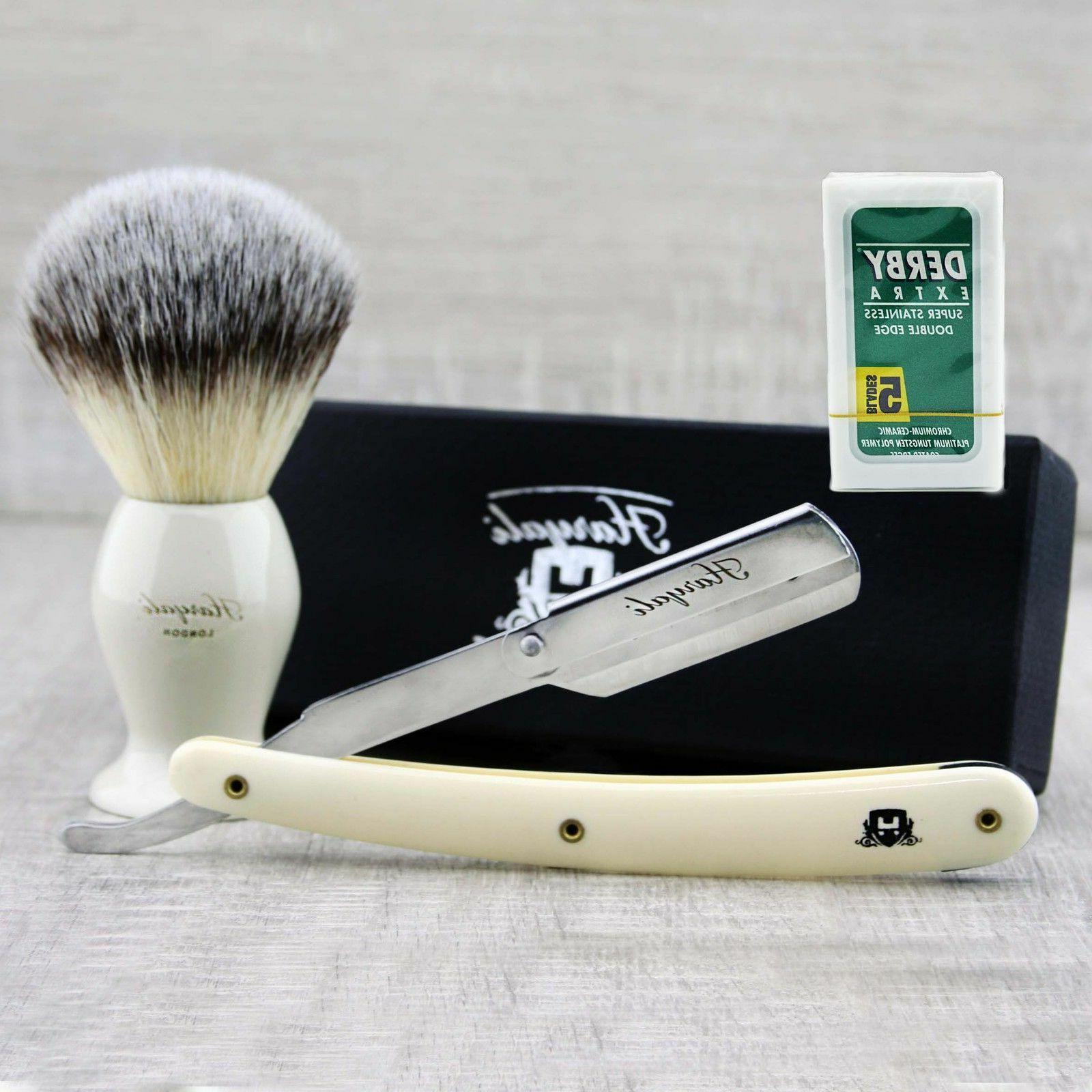 Men's Shaving Straight Razor shaving brush starter kit / set