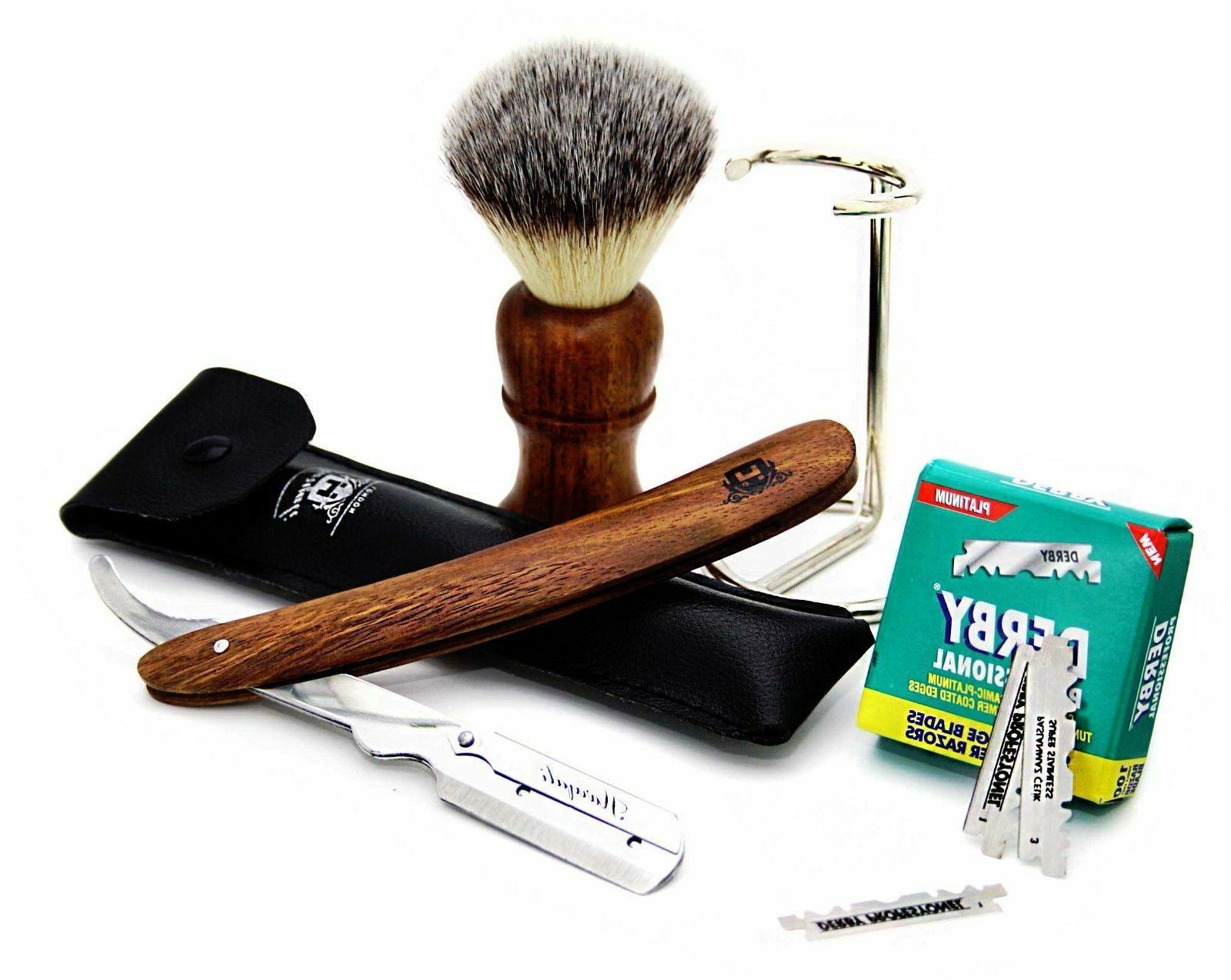 4 PIECE MEN'S STRAIGHT RAZOR STARTER SHAVING KIT PERFECT GIF