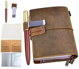 Leather Journal Writing Notebook with Wood Pen - Leafpaq Vin