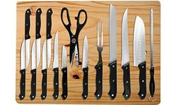 Multi Piece Chef's Cutlery Sets w/ Chopping Board - Stainles