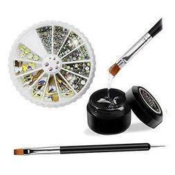 Nail Crystal Rhinestones Starter Kit with Glue and Tool Incl