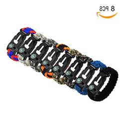 Bestsupplier 8 Pack Paracord Bracelet Kit Outdoor Survival B