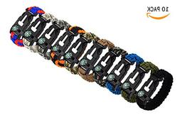 Bestsupplier 10 Pack Paracord Bracelet Kit Outdoor Survival