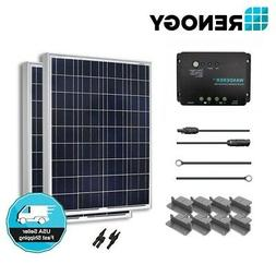 Renogy Solar Panel 200 Watt 2X100W 12V PV Off Grid Kit RV Bo