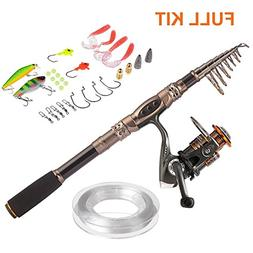 PLUSINNO Spin Spinning Rod and Reel Combos Carbon Telescopic