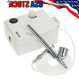 Starter Mini Airbrush Kit Dual Action Gravity Feed Air Compr